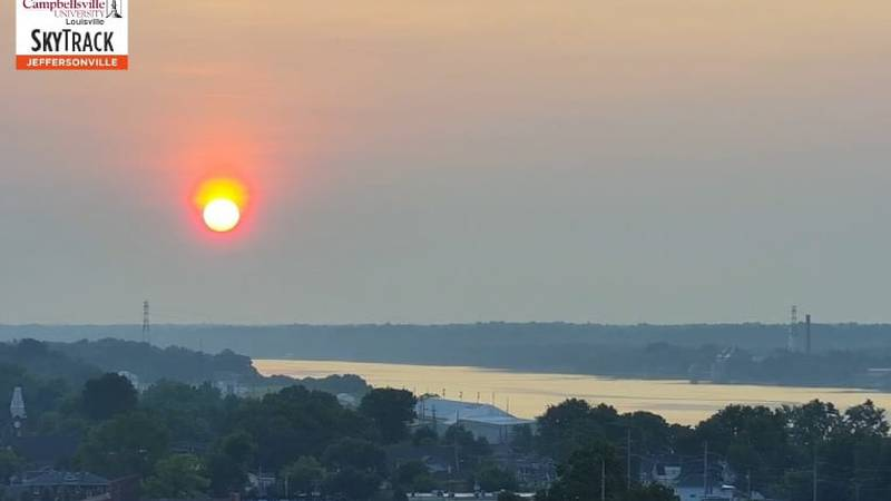 A hazy sunrise captured on the WAVE 3 News SkyTrack camera.