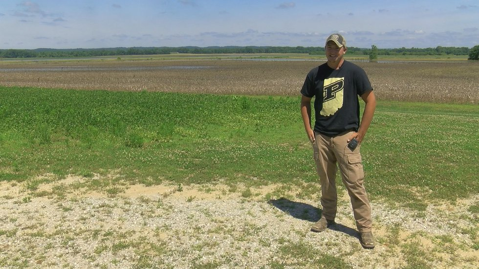 Farmer Cam Shoemaker estimates half of his family's 2,500 acre farm is planted - but it's too...