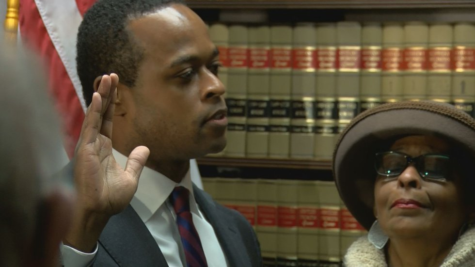 Daniel Cameron was sworn in a few weeks early on Tuesday in Frankfort to fill the vacant office...