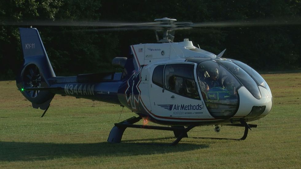 An Air Methods helicopter was one of the many emergency response assets brought in to make the...