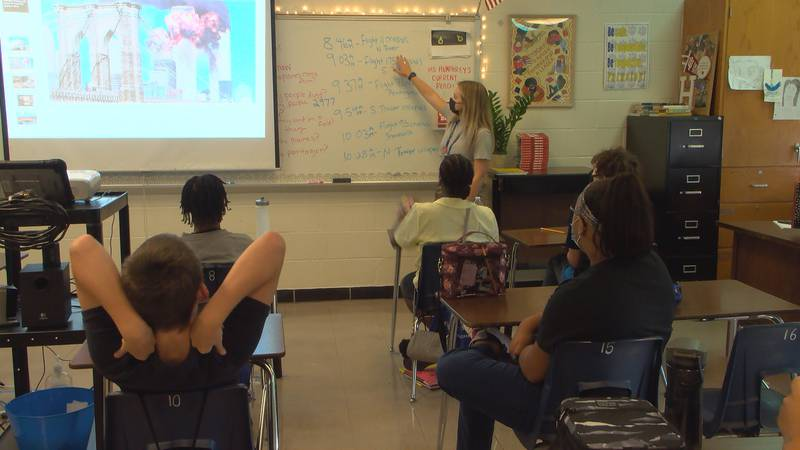 Sixth grade teacher Charlotte Humphrey teaches her students at Farnsley Middle School about the...