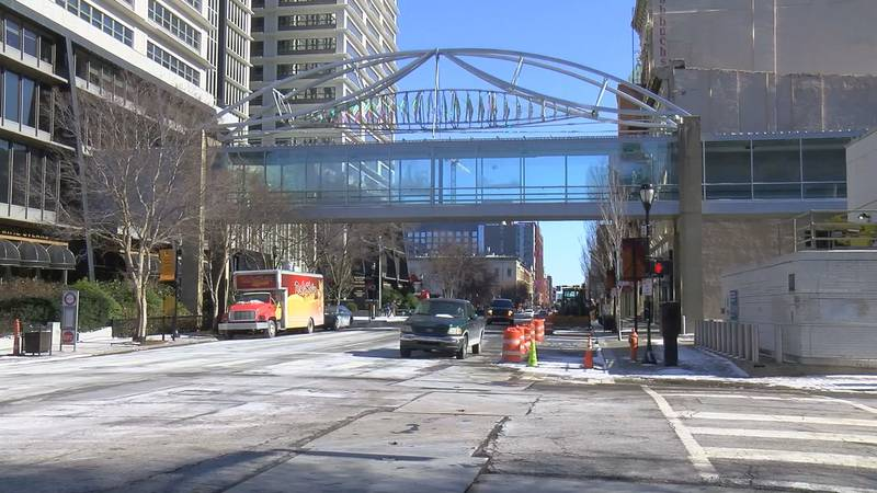 The pedway was built in portions and there are several owners who manage it for the public's use.