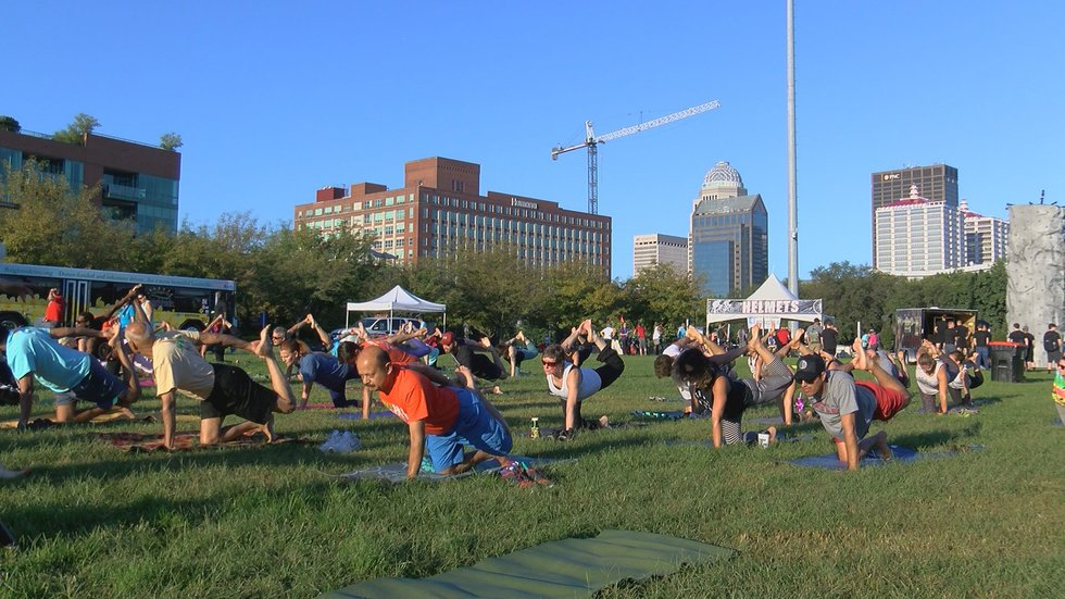 Several people participated in yoga during the event.