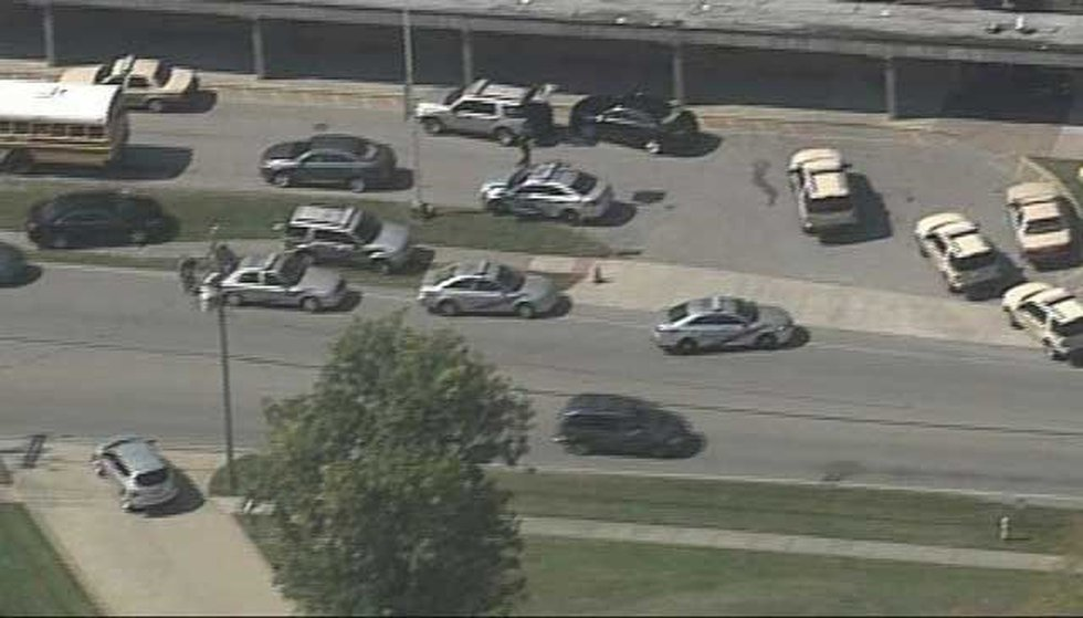 A large police presence formed outside the school. (Source: Air 3, WAVE 3 News)