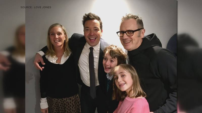Jimmy Fallon posed with a member of Love Jones and his family.