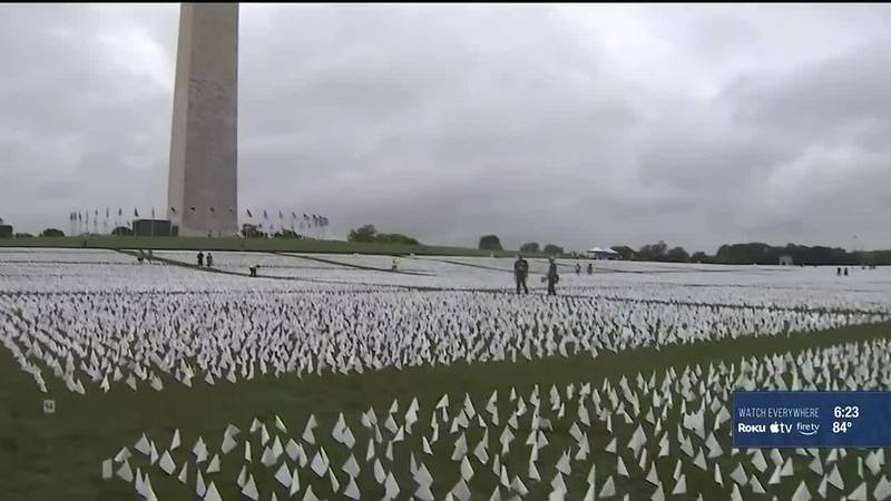 A temporary art installation in the nation's capitol is attempting to show the country's loss...