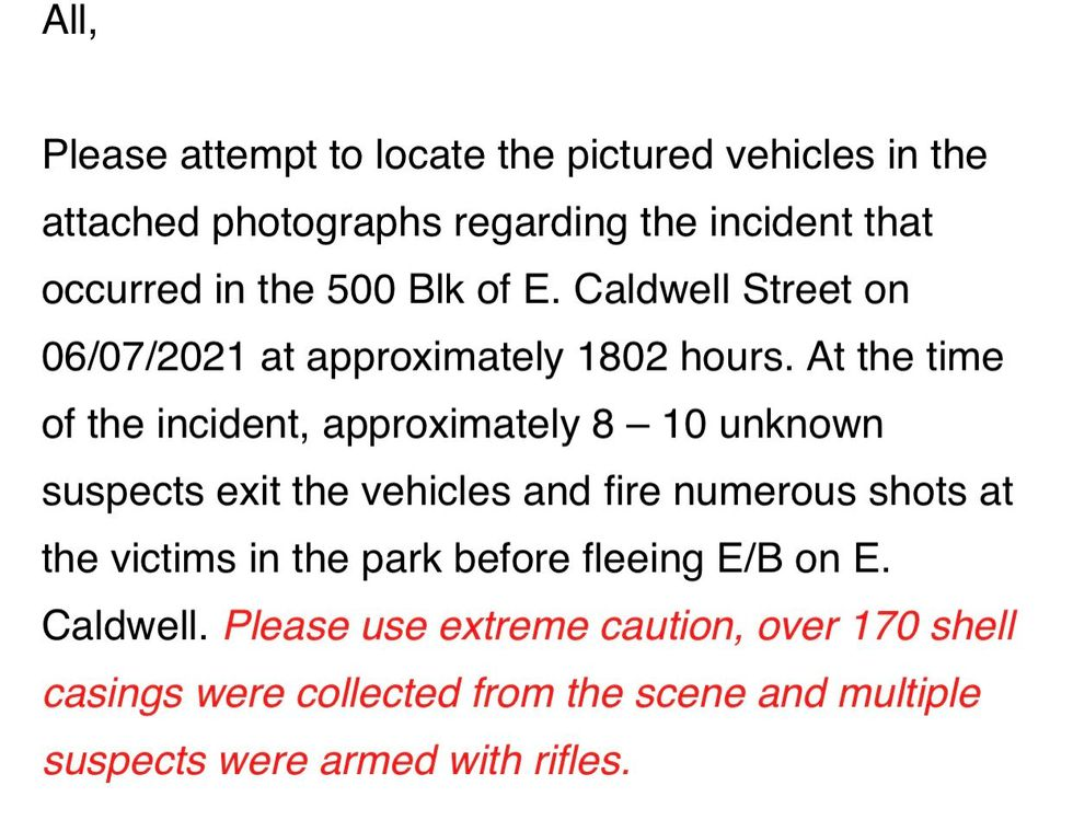 Memo Cites Suspected Vehicles and Over 170 rounds fired at Ballard Park, Two victims taken to...