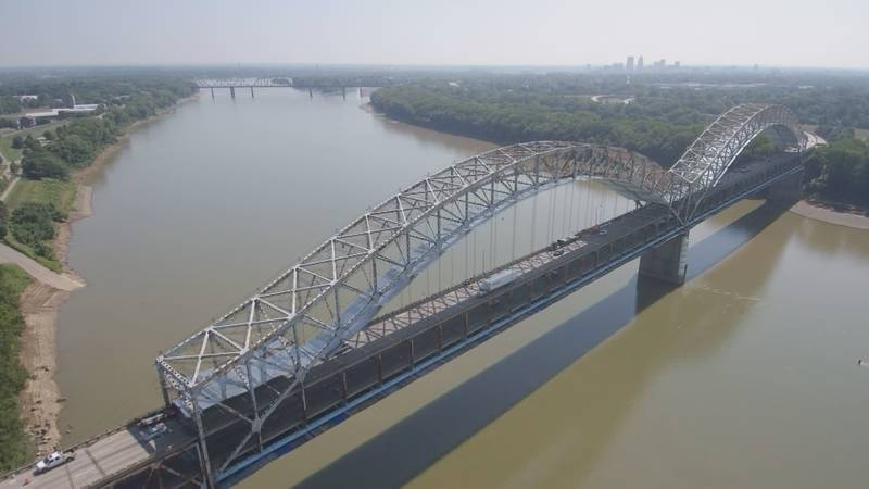 An aerial view of the Sherman Minton Bridge over the Ohio River.