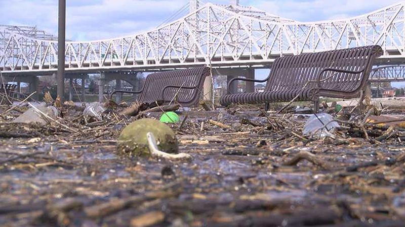 High water brings trash and debris ashore in Waterfront Park. (Source: WAVE 3 News)