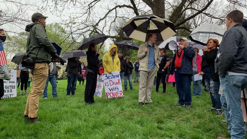 Mask mandate protest in Frankfort