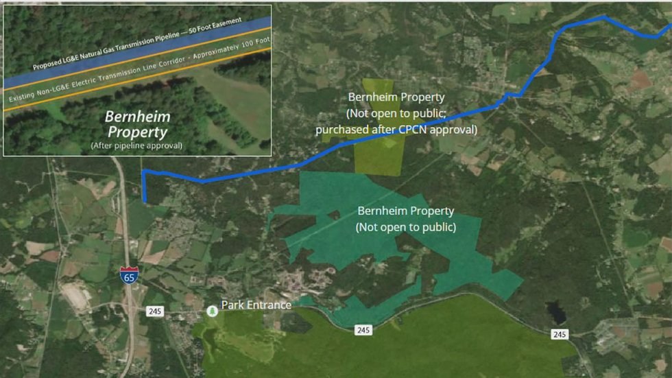 A map showing the route (in blue) of the proposed LG&E natural gas pipeline that would run...