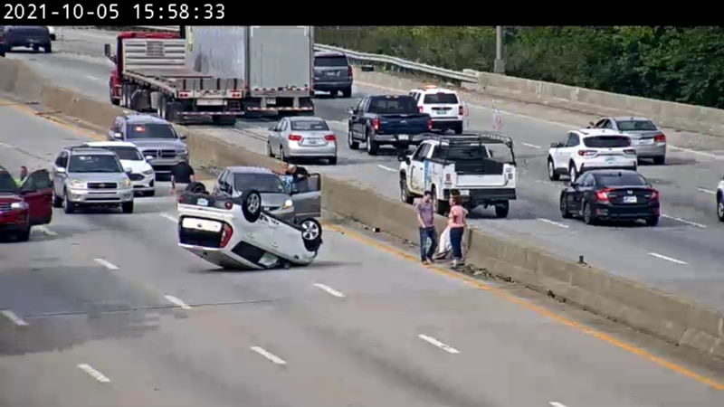A rollover crash involving two vehicles on I-65 South near the Fairgrounds blocked multiple...