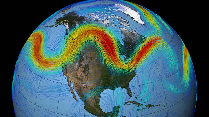 This visualization of the polar jet stream shows it meandering across the Northern Hemisphere.