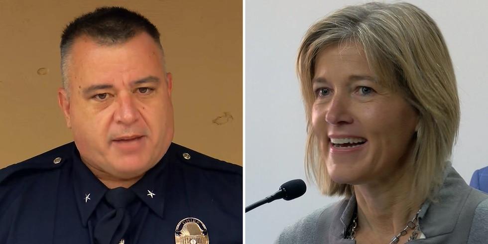 Former Interim LMPD Chief Robert Schroeder and Louisville Metro Public Safety Director Amy Hesss