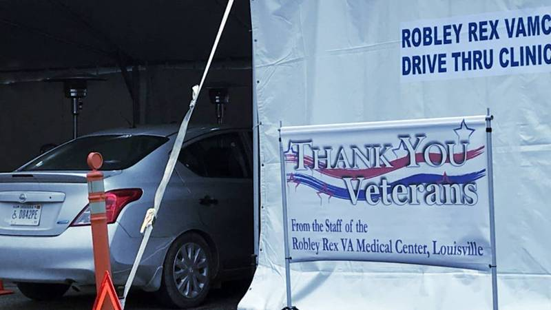 Veterans took part in the newly opened drive-thru clinic at the Robley Rex VA Medical Center in...