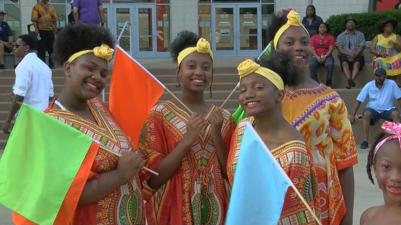 Juneteenth celebrations started at the KFC Yum! Center and ended at Waterfront Park.