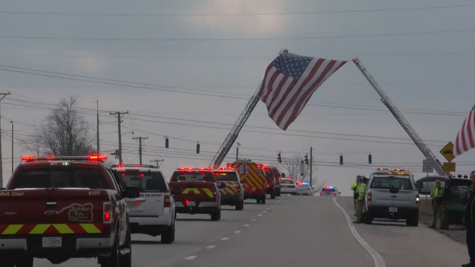 A funeral procession took place on Preston Highway after the funeral on Monday.