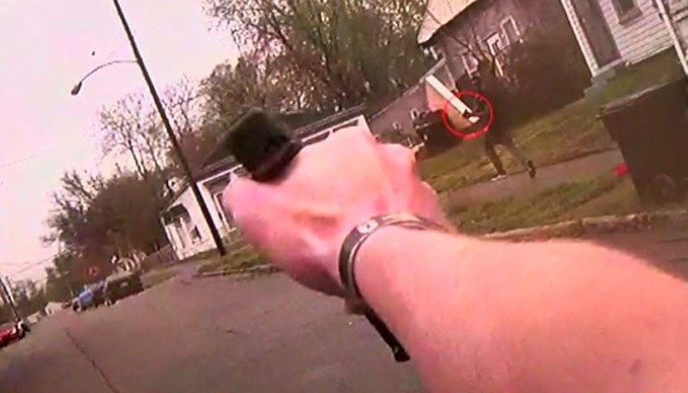 The view from the body-camera of one of the officers involved in the deadly shooting. (Source:...