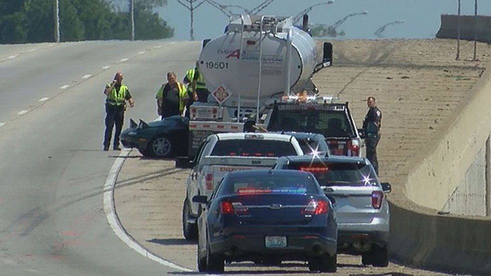 The rear of Rosedale's Mazda Miata may have been clipped by a semi gas tanker, police said....