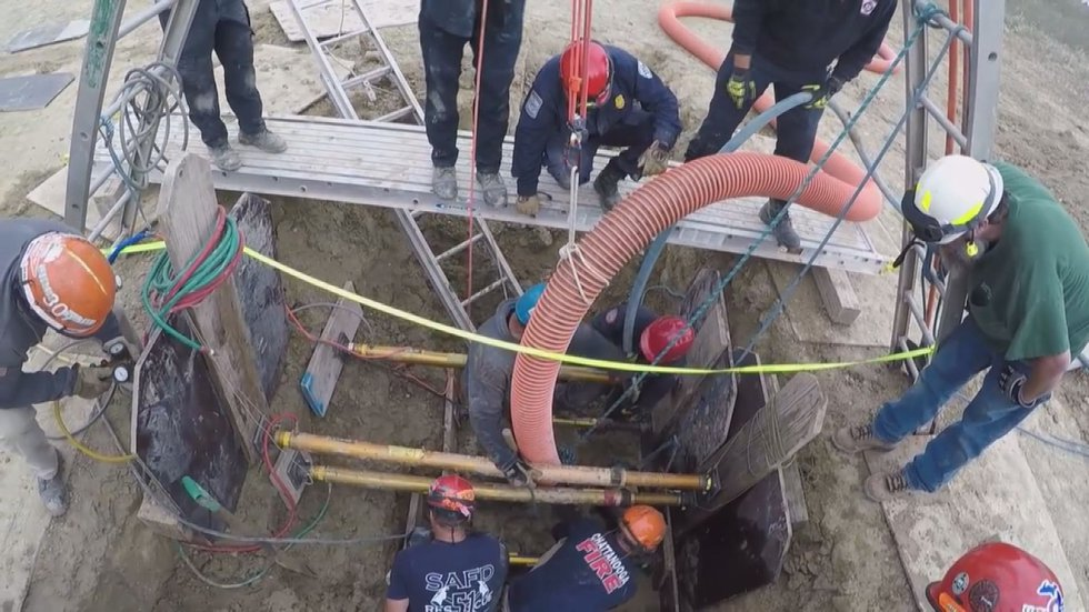 This is a picture from a training video showing how trench rescues work.