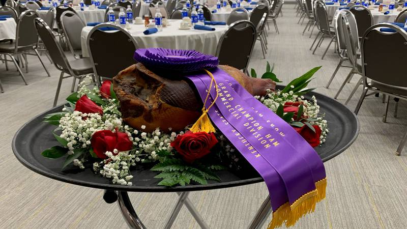 Thanks to a combined bid, the 2021 Blue Ribbon Kentucky State Fair Country Ham was auctioned...