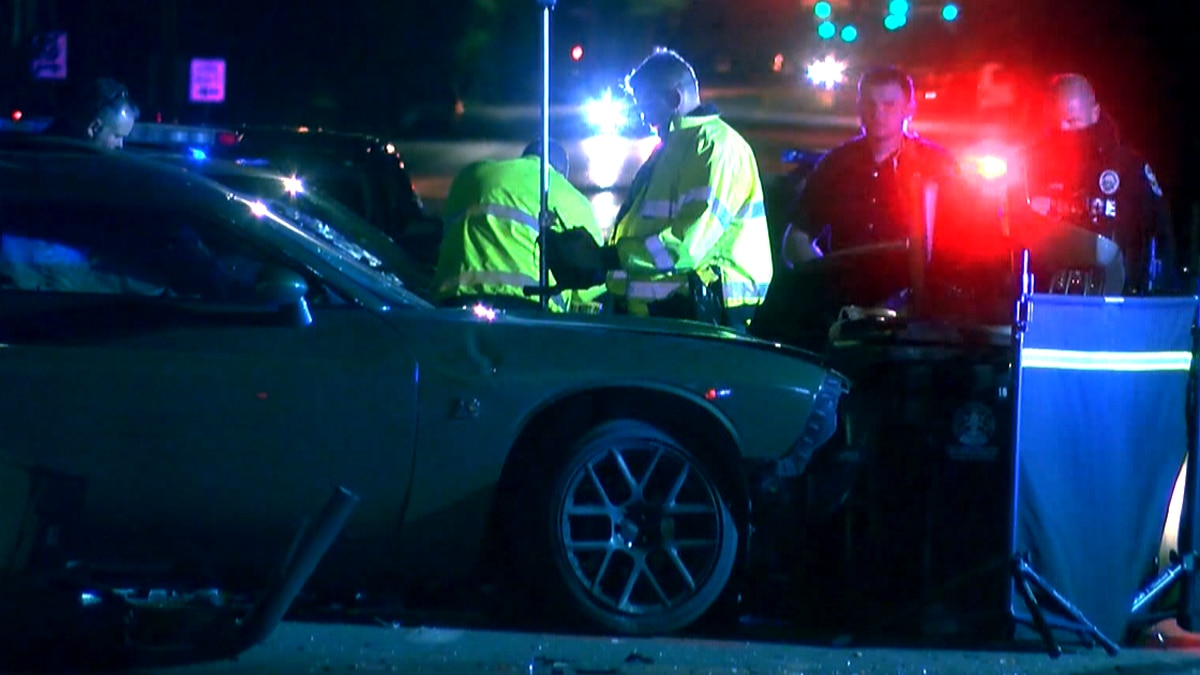 A crash scene at the intersection of West Broadway and South 18th Street near the YMCA in...
