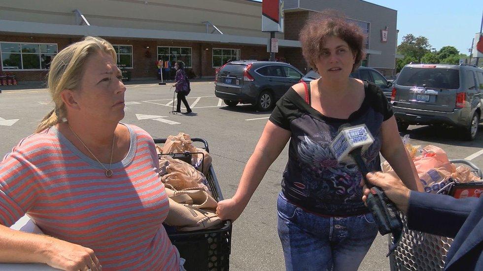 Kroger shoppers Rebecca (left) and Erin Moore.