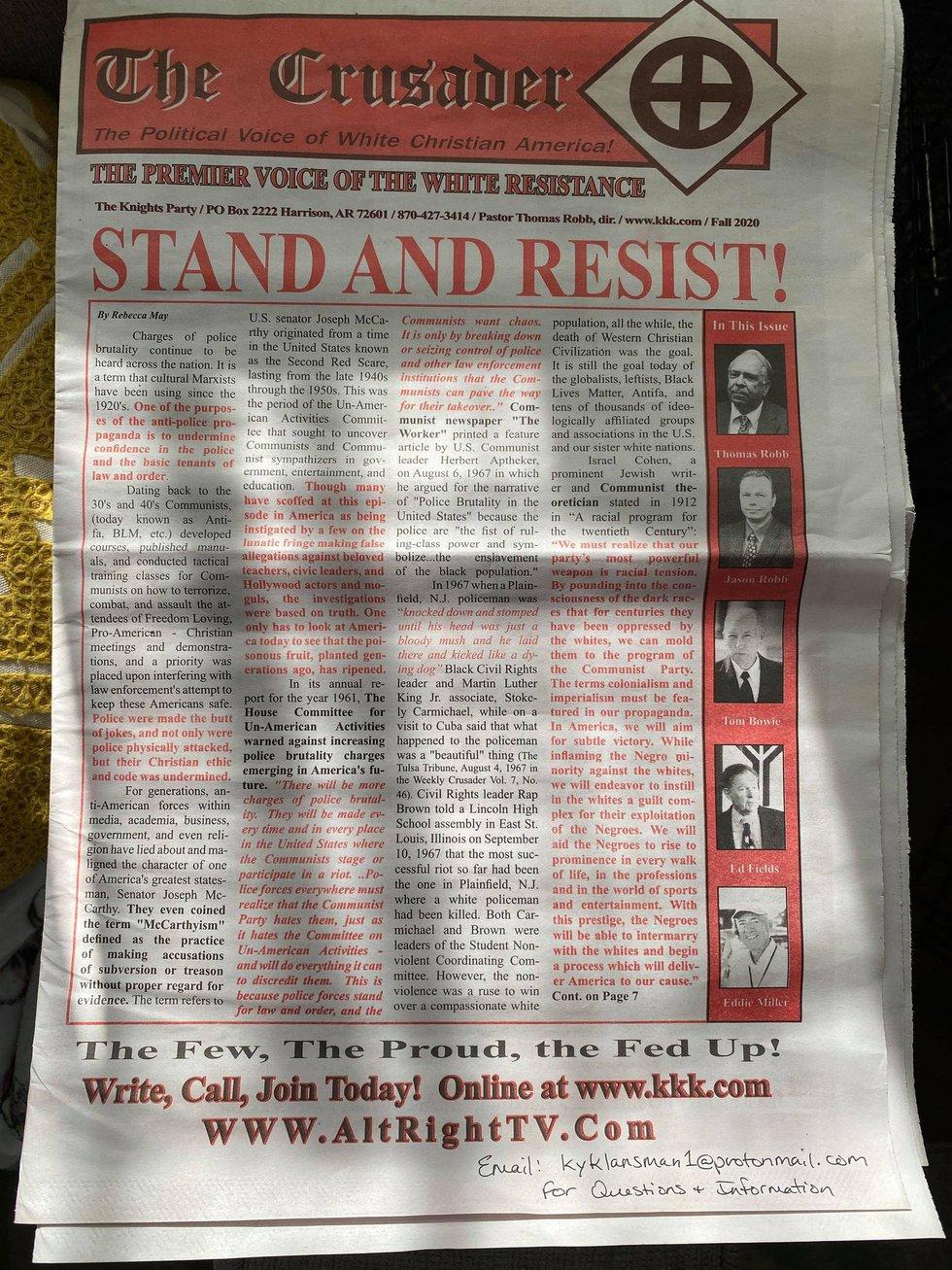 The KKK newspaper found on a PRP doorstep.