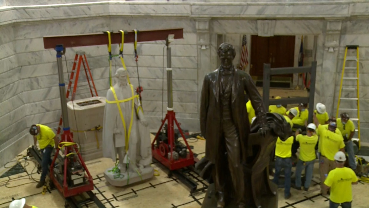 On Saturday, crews came together to remove the Jefferson Davis statue from the Capitol rotunda.