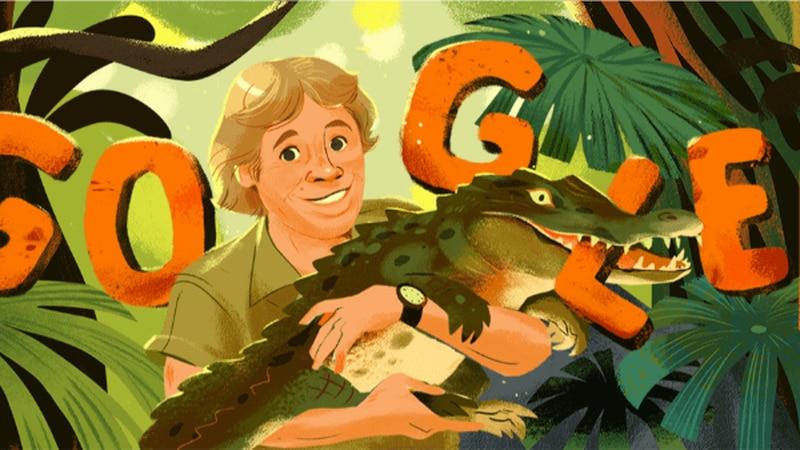 Google Doodle celebrates Steve Irwin's 57th birthday (Source: Google)