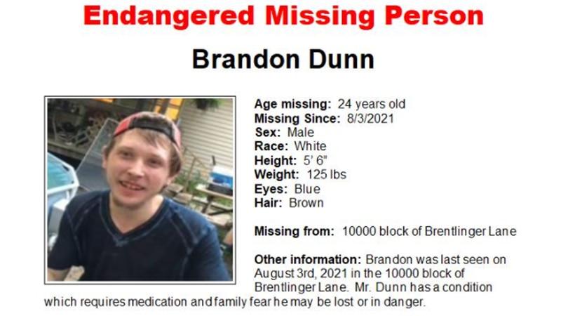 Brandon Dunn was last seen on Aug. 3 on Brentlinger Lane, where he lives.