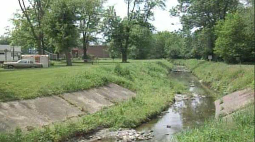Creek behind Liberty High School where Trey Zwicker's body was found.