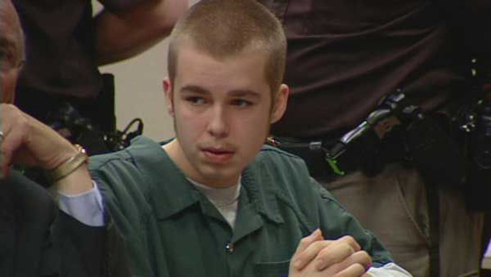 Josh Young in the courtroom as his father pleads guilty to the murder of Trey Zwicker.