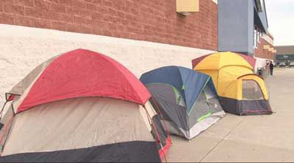 At least four tents could be seen outside the Best Buy four days before the store opens on...
