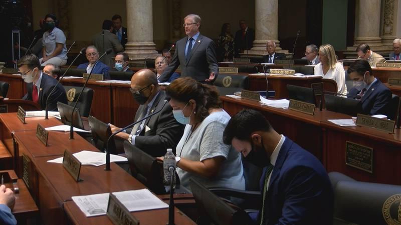 Sen. Damon Thayer talks about Senate Bill 5 before the Kentucky State Senate on Thursday, Sept....
