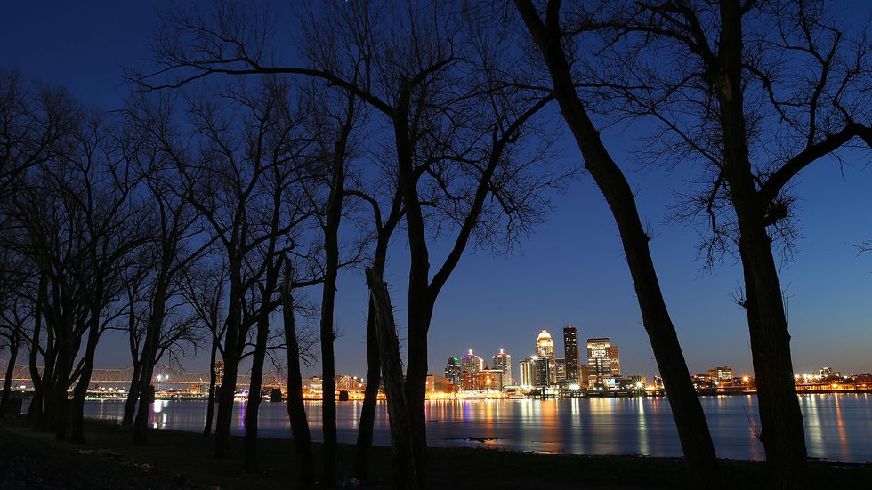 The Louisville skyline at night in March 2020.