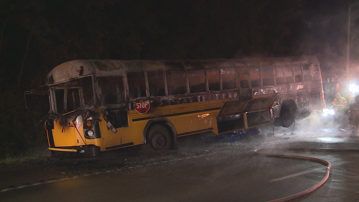 All 30 people aboard the bus are safe.