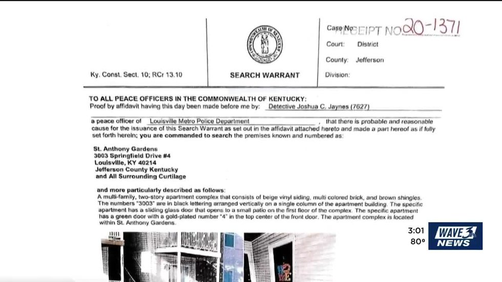 Search warrant for Breonna Taylor's apartment