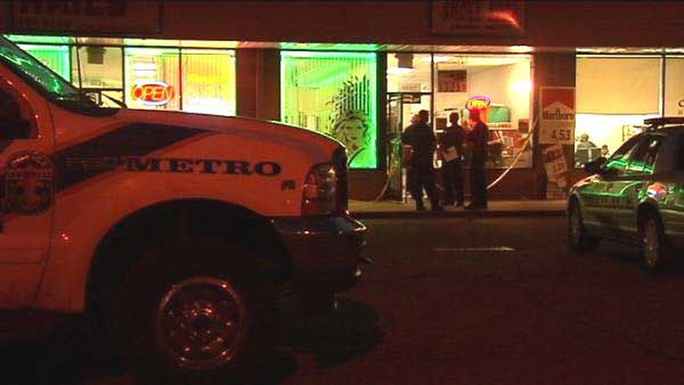 Metro police outside Smoke Shop