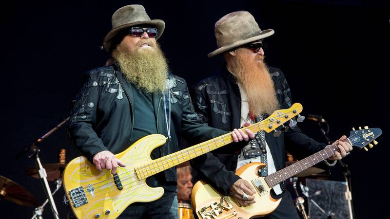 Dusty Hill and Billy Gibbons from U.S rock band ZZ Top perform at the Glastonbury music...