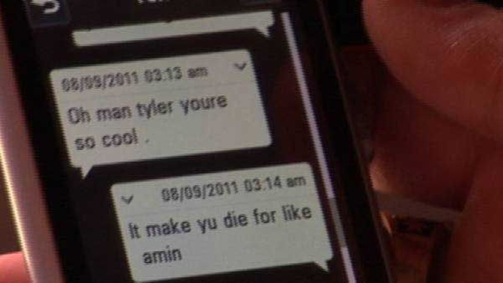Text messages on Tyler's phone (Source: Ronda Biven)
