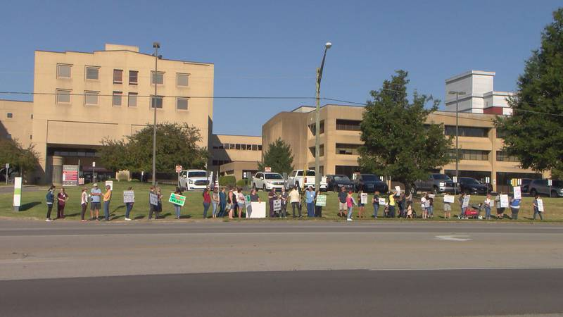 Employees of Baptist Health Hardin protested outside of the hospital on August 4, 2021 over a...