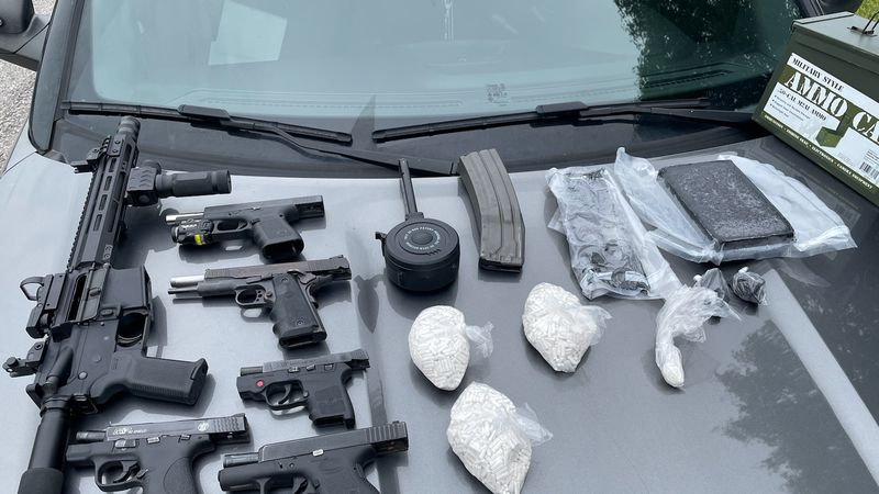 Once they started the search, the officers and deputies found five loaded guns, plus an AR-15...