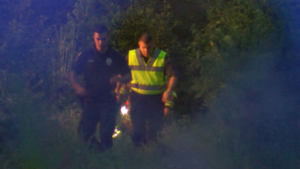 Emergency crews searching the damage off of the roadway. (Source: WAVE 3 News)