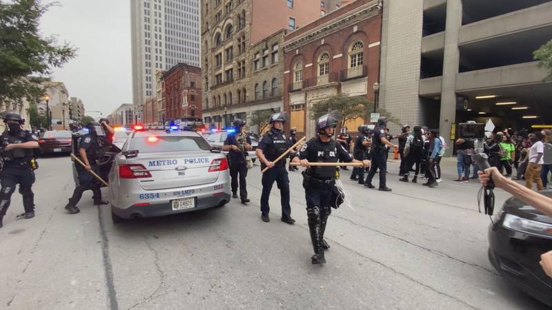Louisville protesters are condemning a state Senate bill that would make it illegal to taunt a...