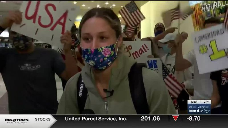Mallory Comerford got a hero's sendoff at Louisville Muhammad Ali International Airport on...