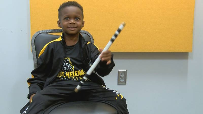 Jeremiah Travis is a 5-year-old drumming sensation that marches in the St. Helena High School...