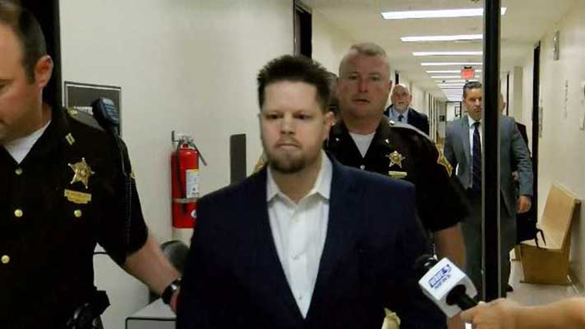 Joseph Oberhansley being lead to court on Aug. 22, 2019  for the first full day of testimony in...