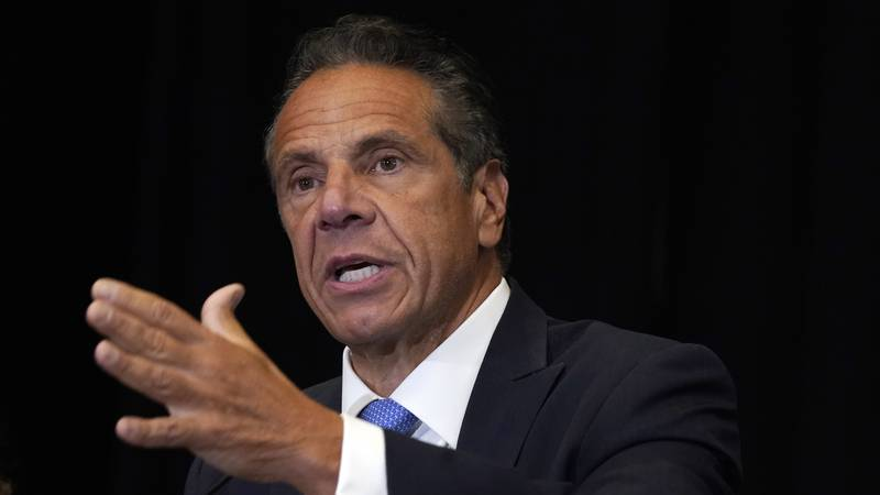 FILE - New York Gov. Andrew Cuomo speaks during a news conference at New York's Yankee Stadium,...