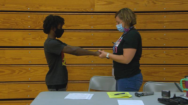 JCPS provides free physicals and vaccinations at Iroquois High School.